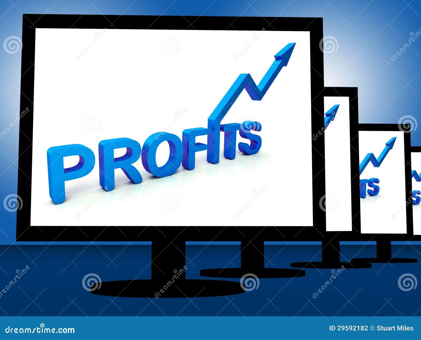 Vinster på bildskärmar som visar lönande inkomster