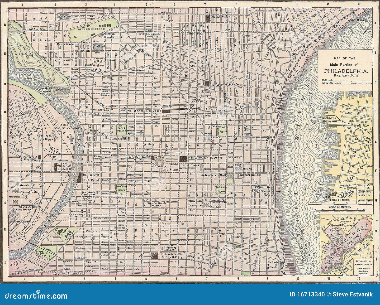 Vintage Philadelphia Map Vintage 1891 Map Of The City Of Philadelphia Stock Photo   Image