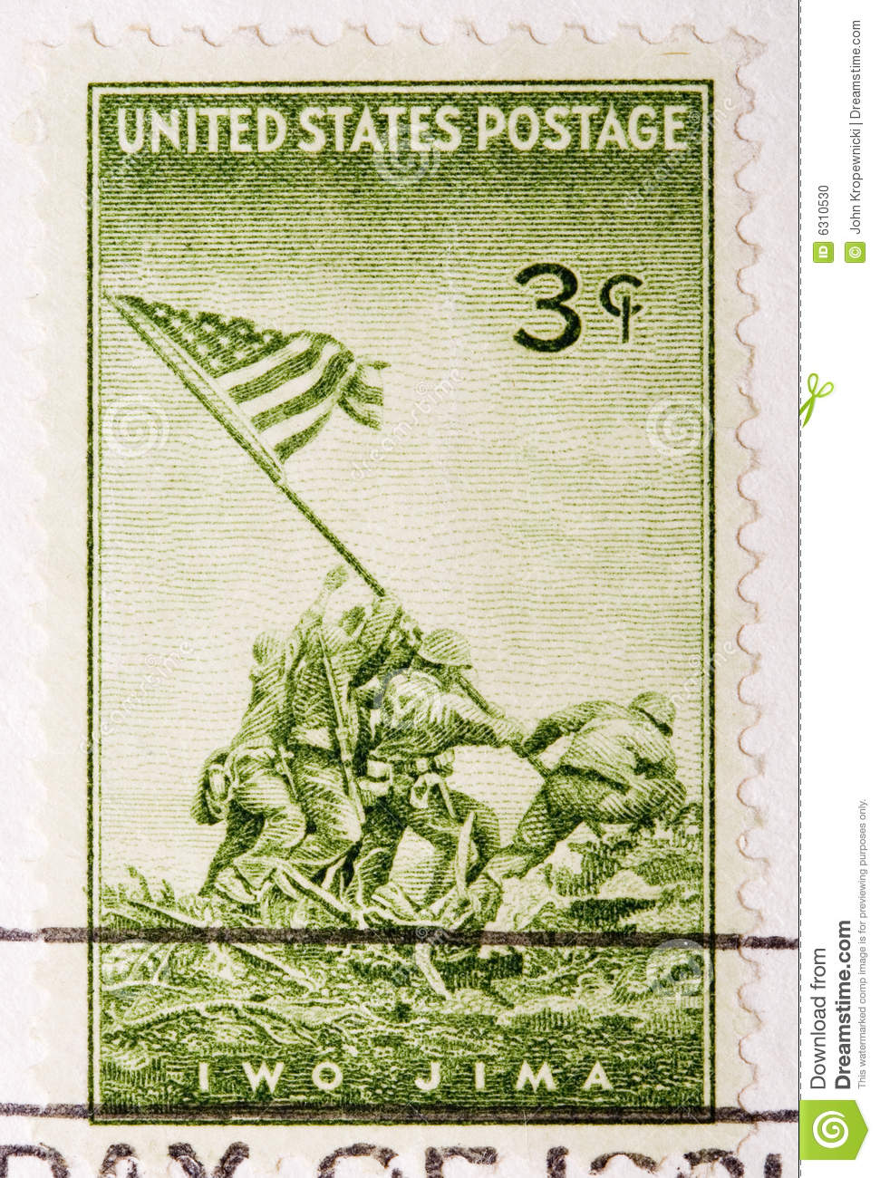 vintage 1945 canceled us postage stamp iwo jima stock photo