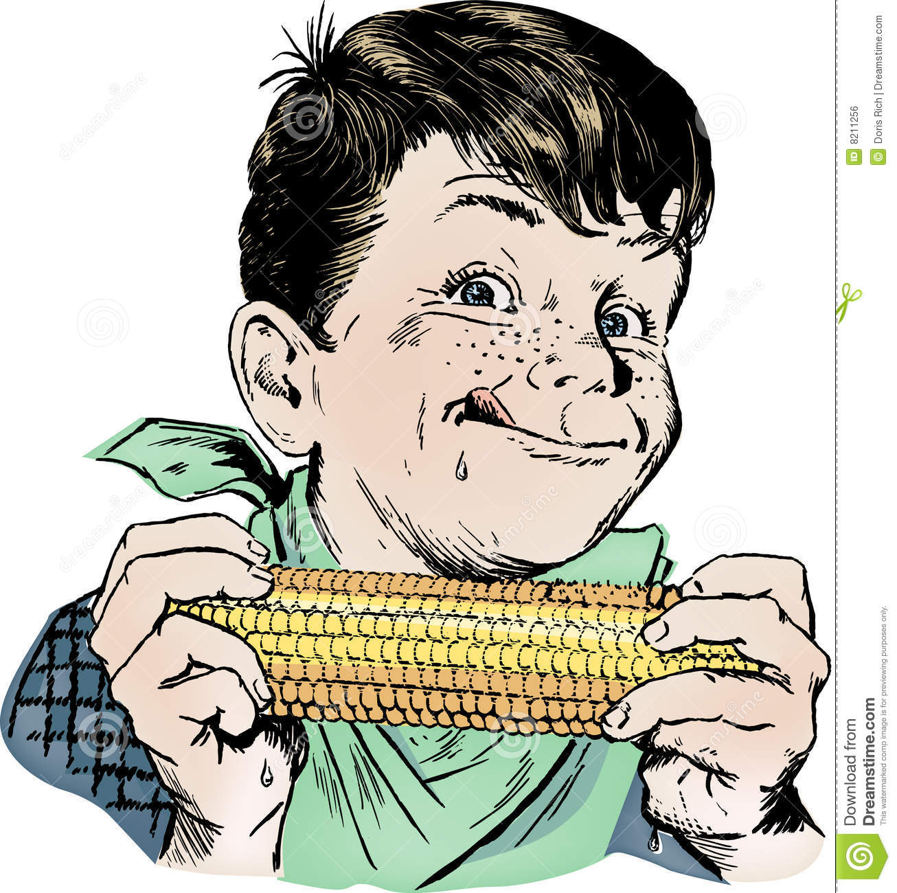 Vintage 1950s Boy Eating Corn Stock Vector