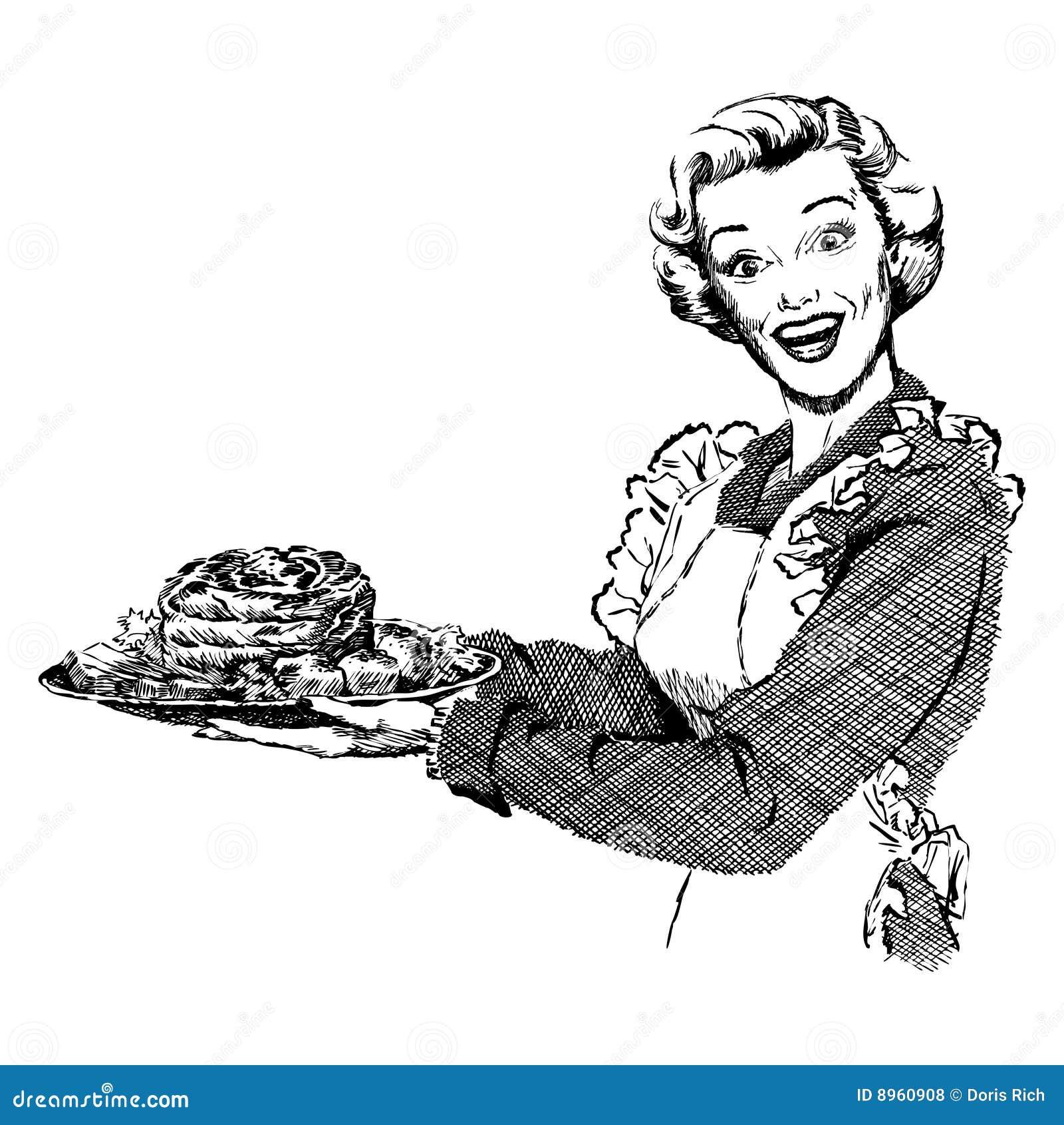Vintage 1950s Woman Serving Dinner Stock Vector ...