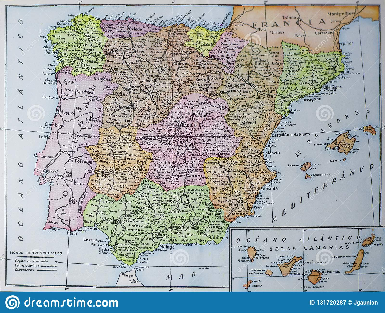 Map Of Spain Lanzarote.Vintage Administrative Map Of Spain Picture From Book Enciclopedia