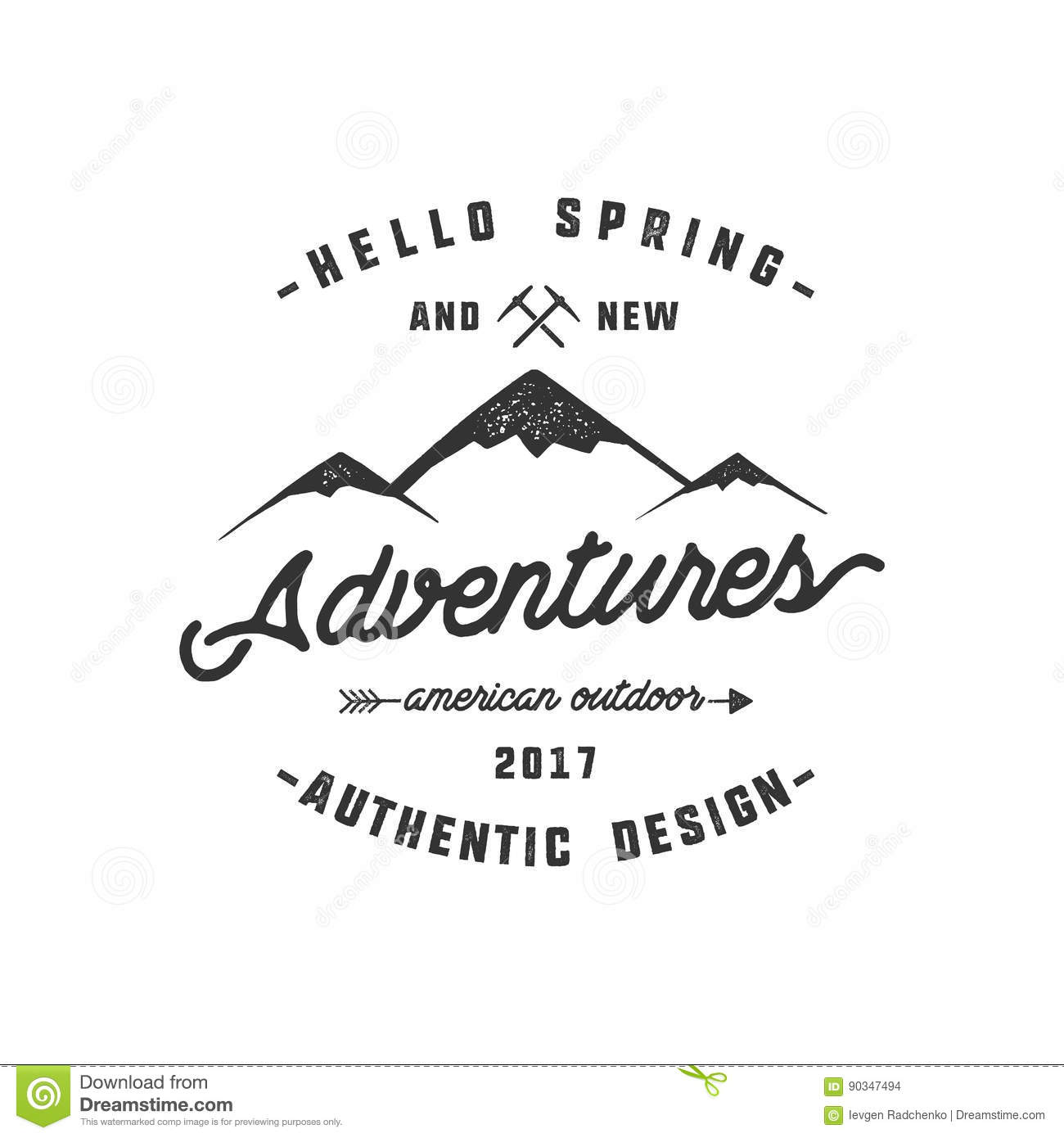Vintage adventure Hand drawn label design. Hello spring and new adventures sign and outdoor activity symbols - mountains