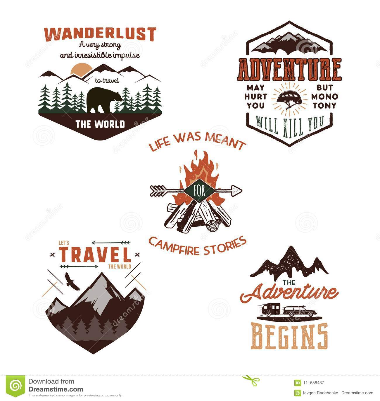 Vintage Adventure Tee Shirts Designs Summer Logo Set Hand Drawn