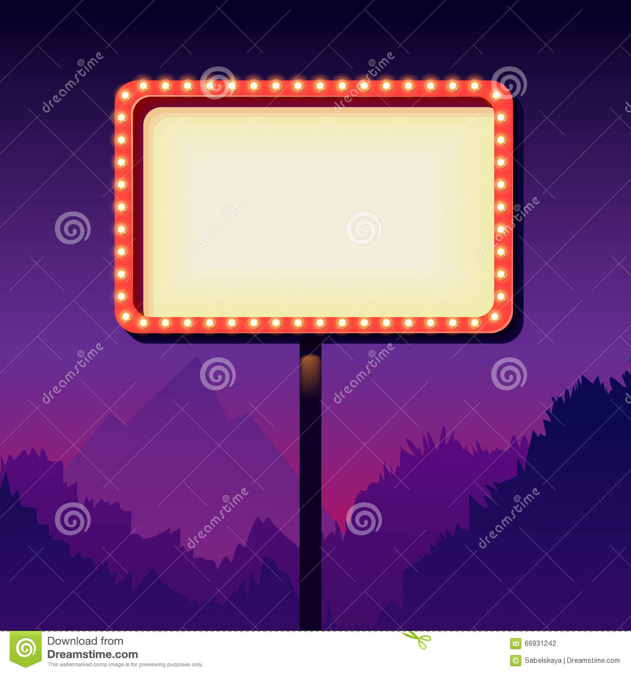 Vintage Advertising Road Billboard With Lights Retro 3d