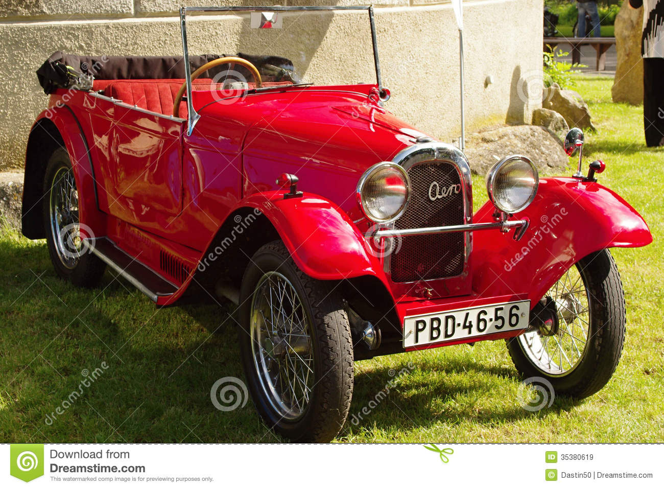 Vintage red open top Aero sports car in pristine condition on show on