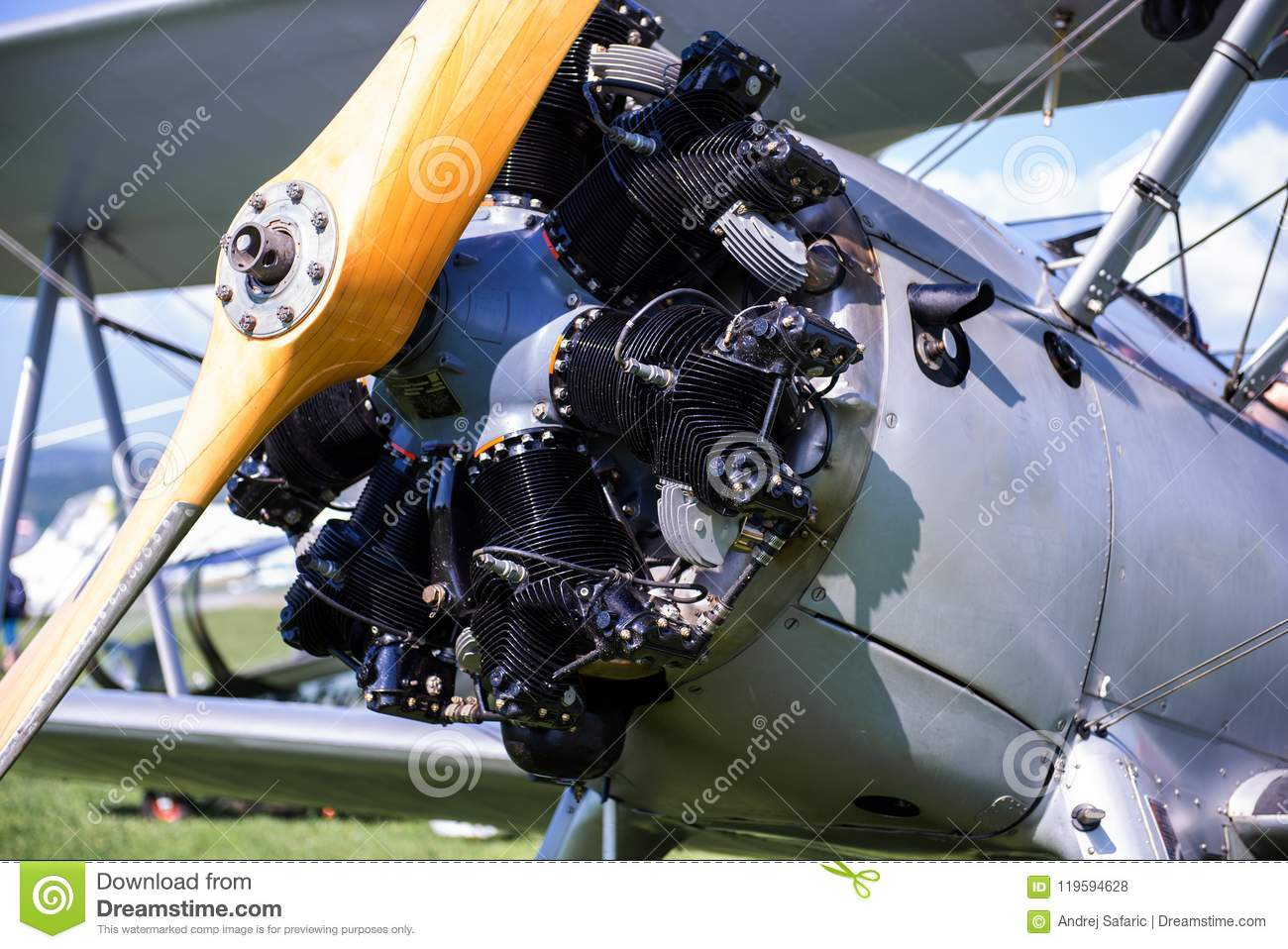 efd1f3e6265a Royalty-Free Stock Photo. Vintage aircraft with radial engine and wooden  propeller