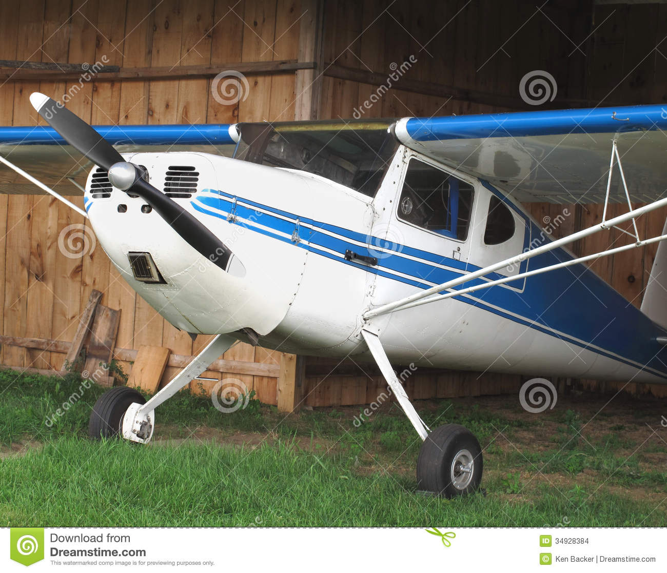 Vintage Aircraft In Wooden Hanger. Stock Images