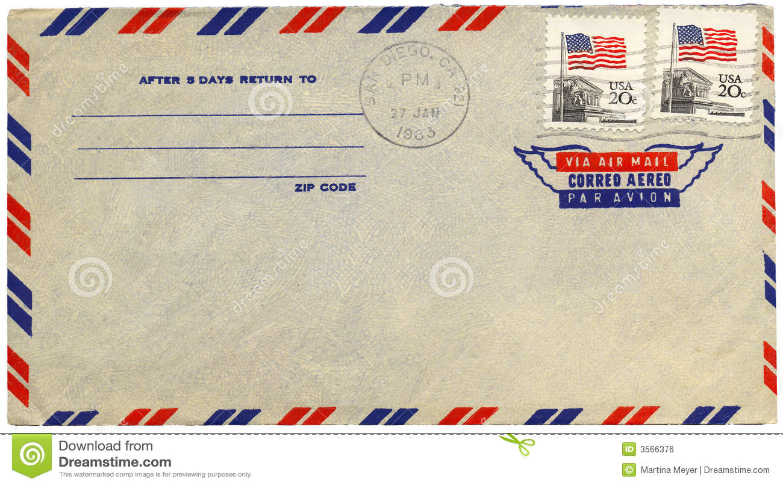Vintage Airmail Envelope Stock Photo Image Of Adhesive