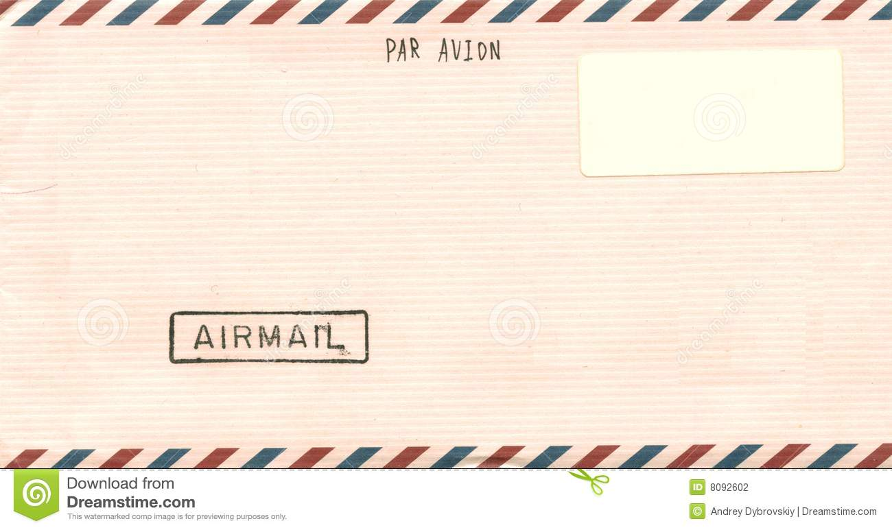 Download Vintage Airmail Envelope Stock Illustration. Illustration Of Plane    8092602