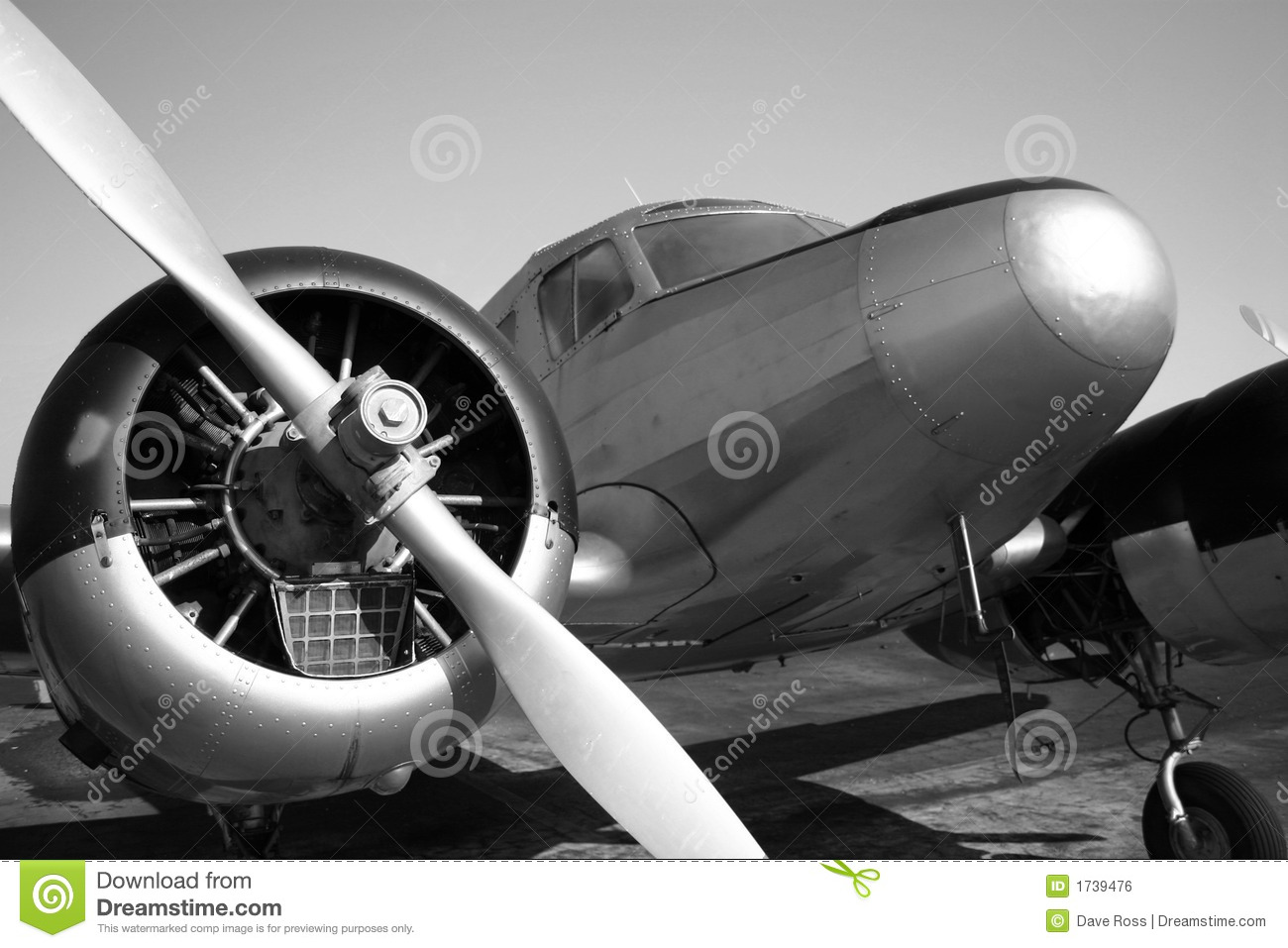 Vintage Airplane Stock Photo Image Of Twin White Cowling
