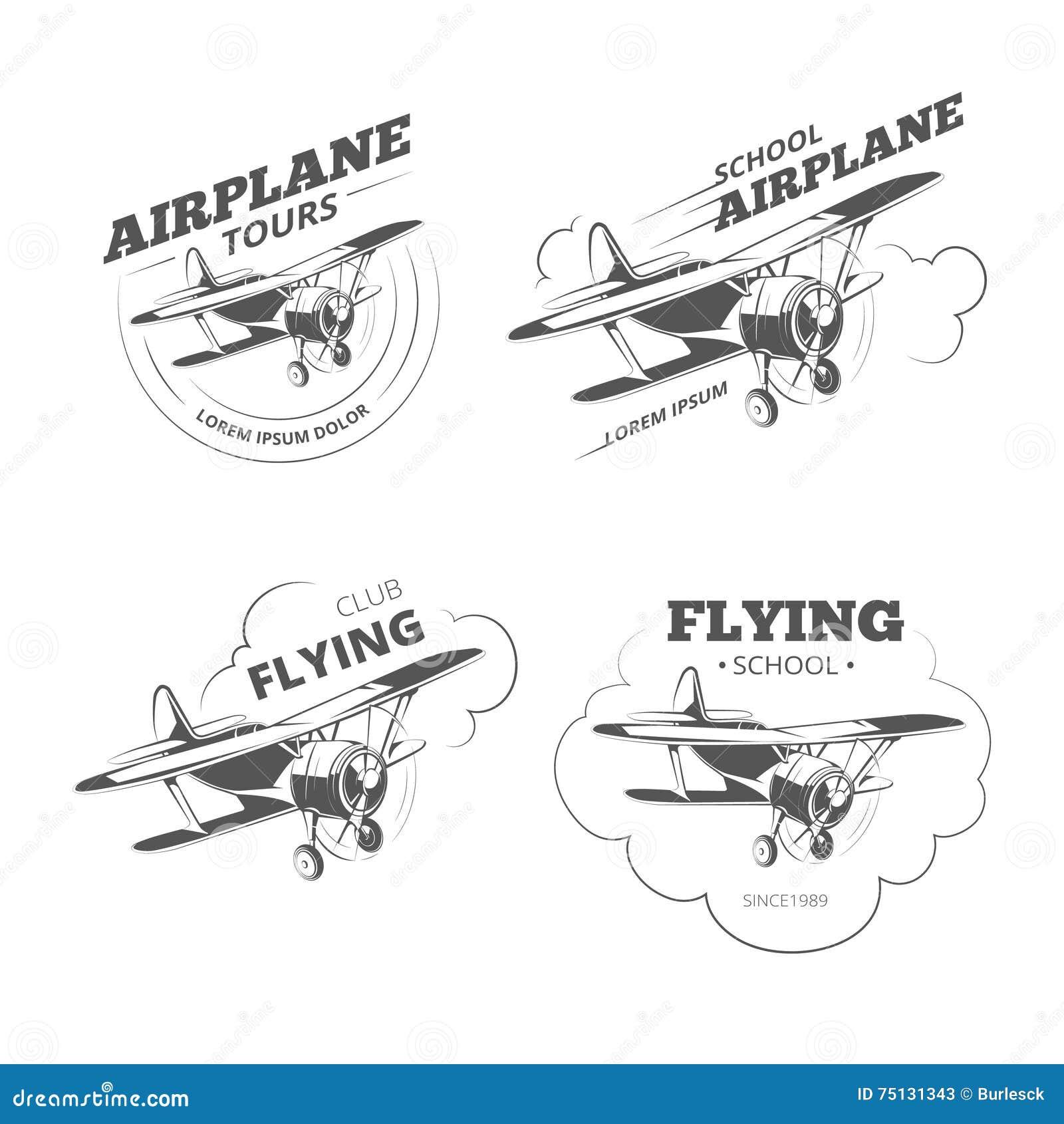 vintage airplane or aircraft vector logos emblems labels set stock