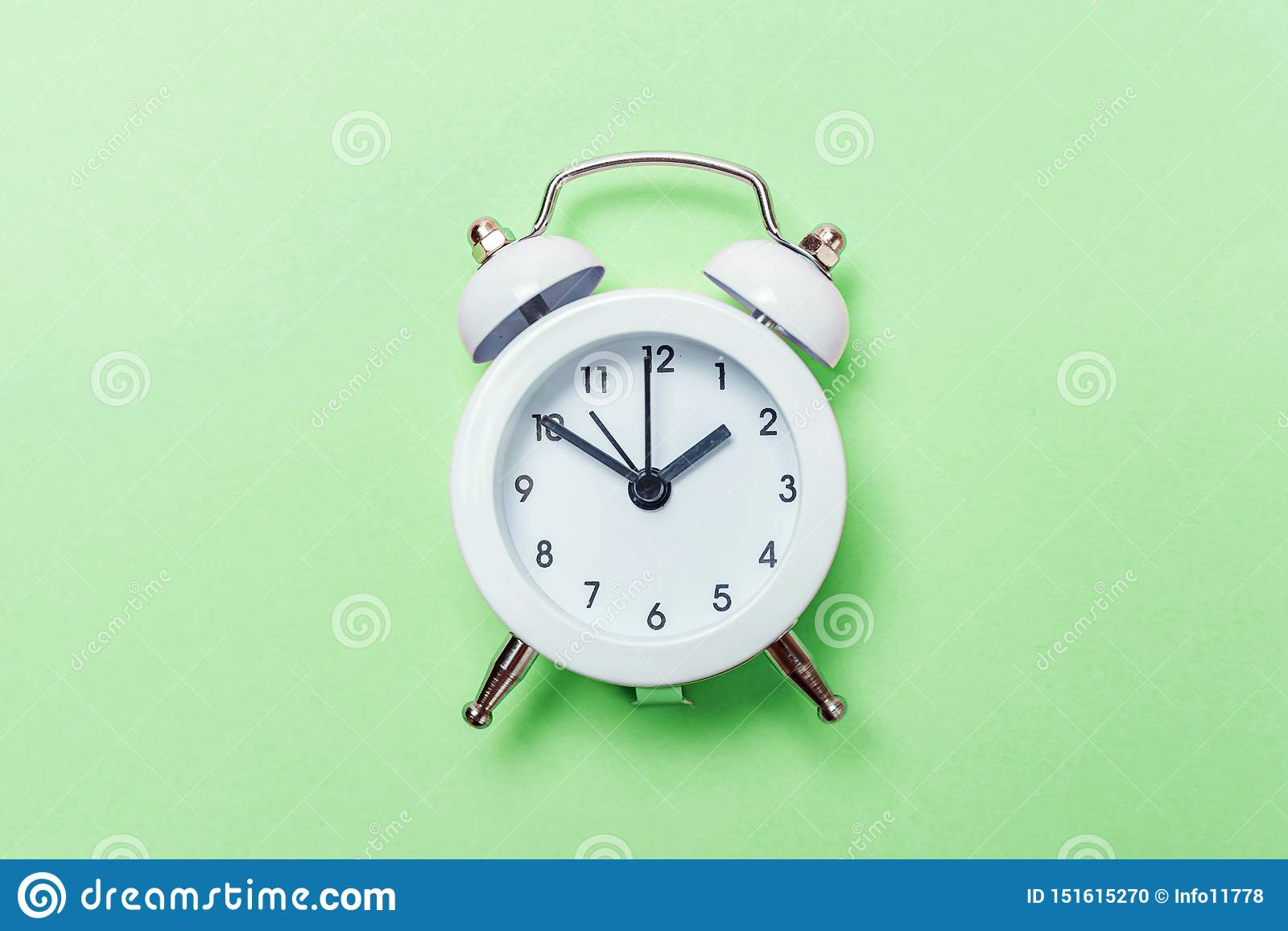 Vintage Alarm Clock Isolated On Green Pastel Background ...