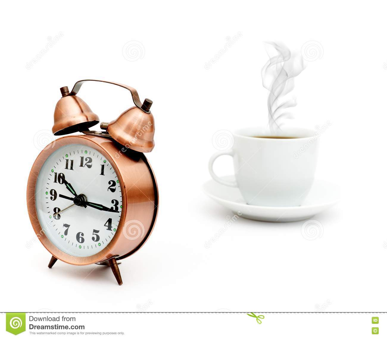 Vintage Alarm Clock And White Coffee Cup Stock Photography - Image: 17851782