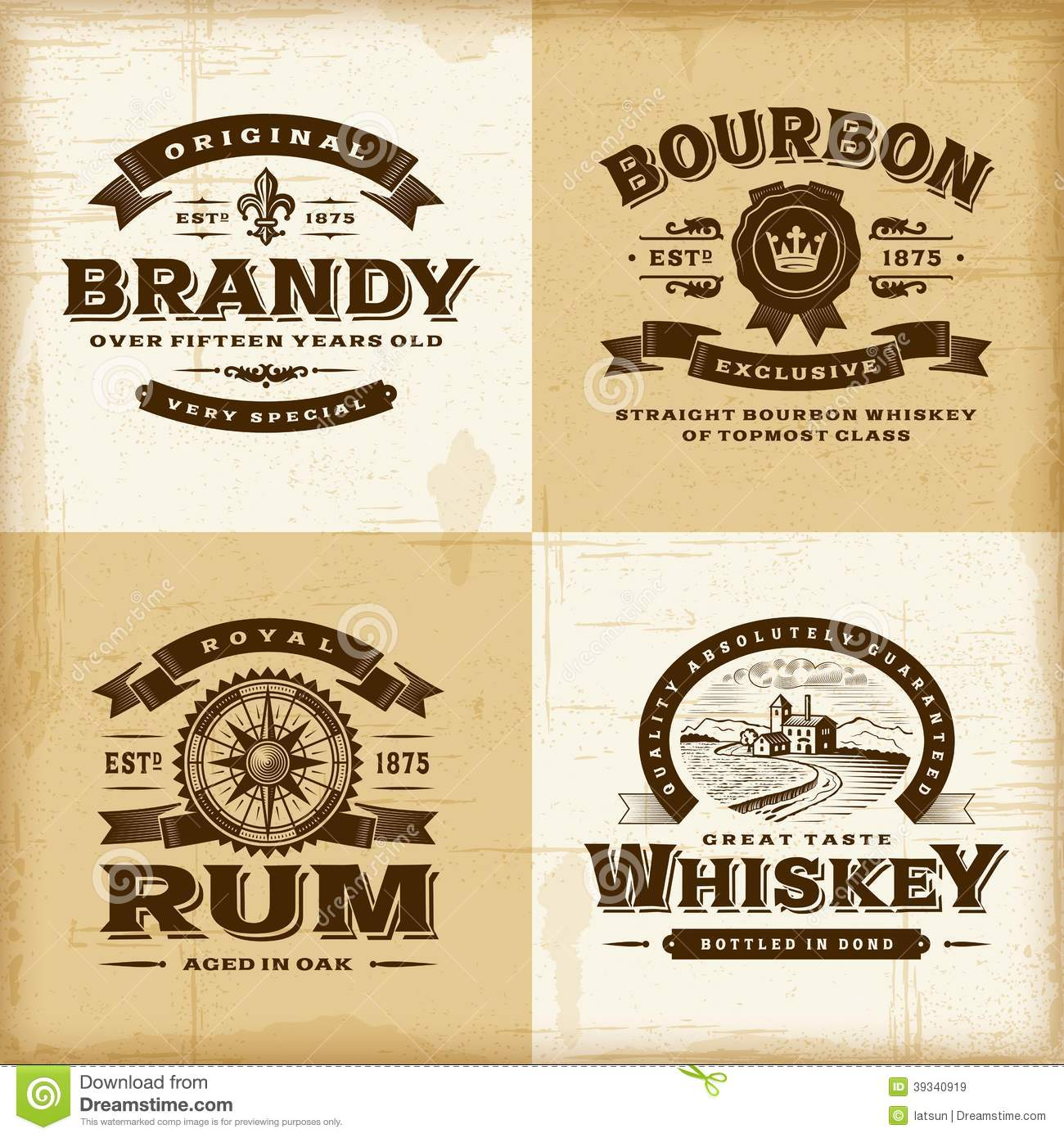Royalty Free Stock Images Vintage Alcohol Labels Set Fully Editable Woodcut Style Eps Vector Illustration Image39340919 on vintage style house plans
