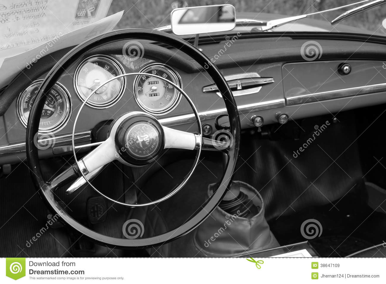 Vintage Alfa Romeo Dashboard Editorial Stock Image Of Steering Wheel