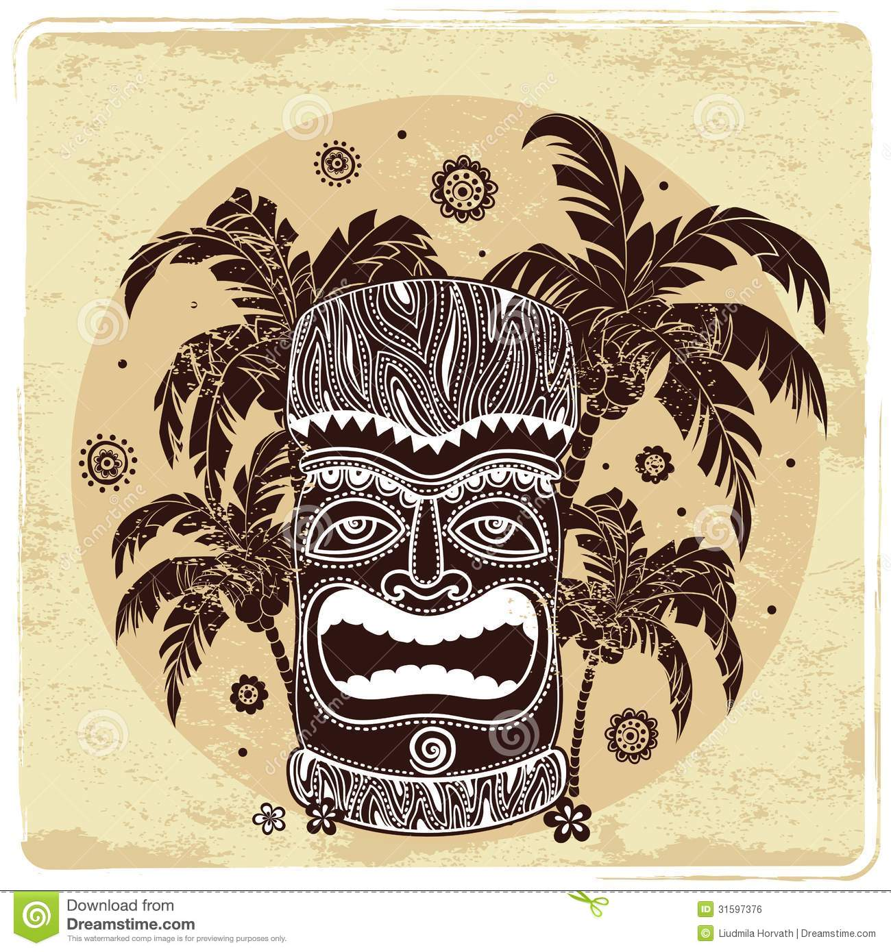 Vintage Aloha Tiki Illustration Royalty Free Stock Image
