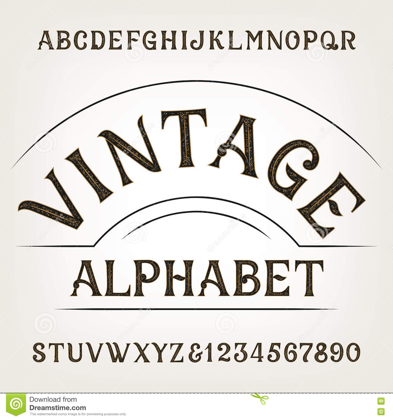 Vintage Alphabet Retro Distressed Vector Font Hand Drawn Letters And Numbers Royalty Free