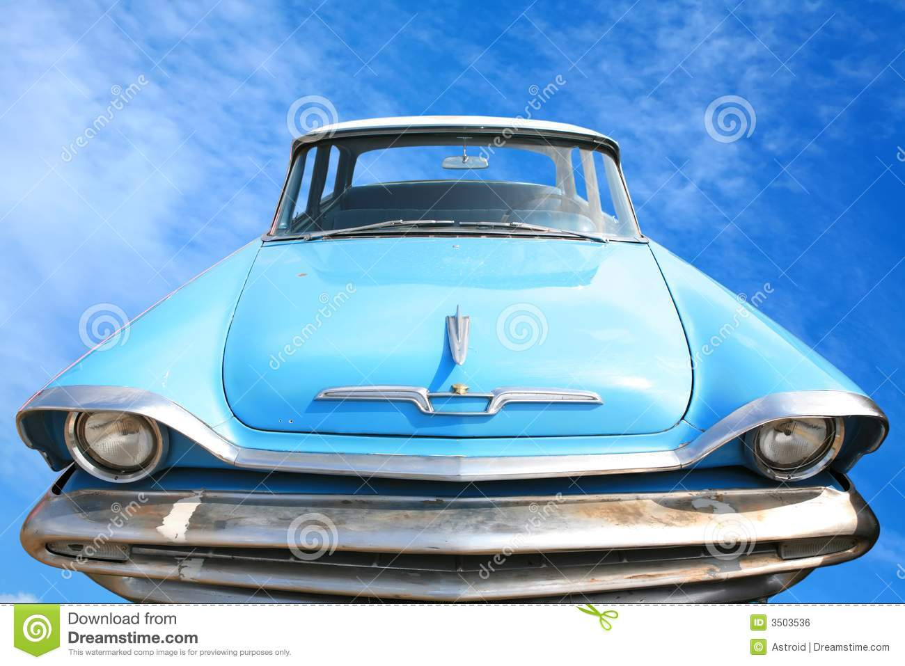 Vintage American Car 50-60\'s Stock Photo - Image of scratches, blue ...
