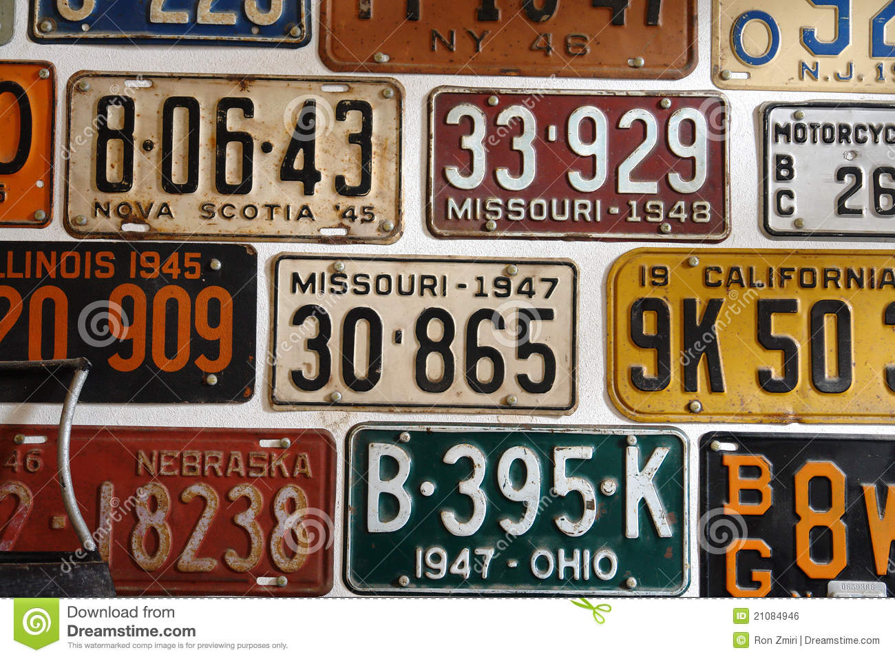 Vintage American Cars Number Plates Stock Photo - Image: 21084946