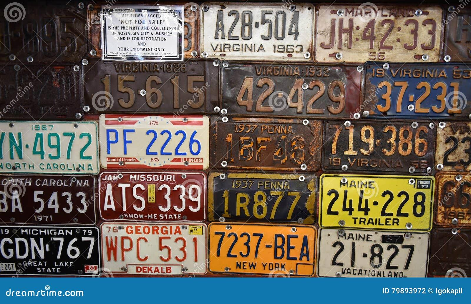 Vintage american cars number plates & Vintage American Cars Number Plates Editorial Photography - Image ...