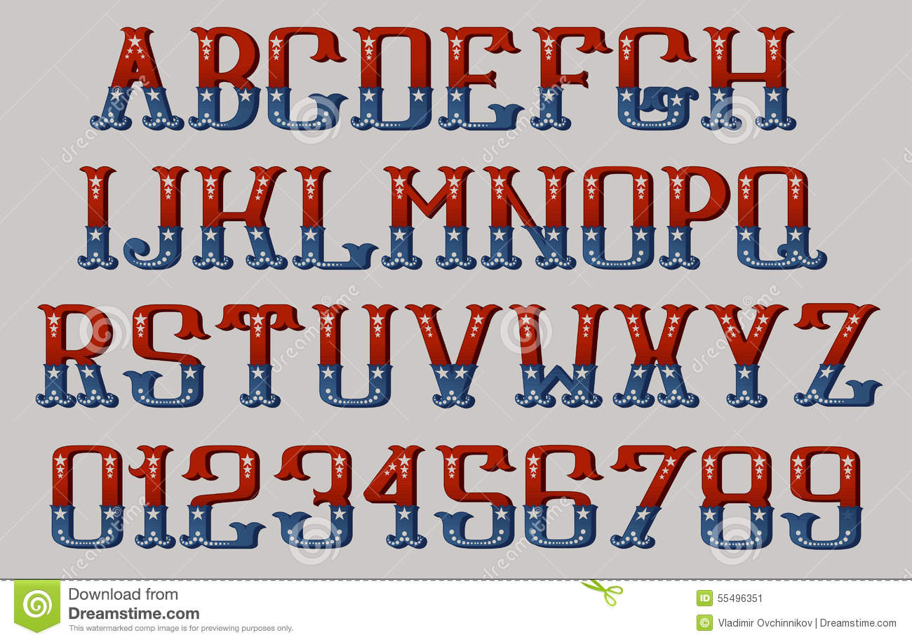 vintage american font stock vector illustration of