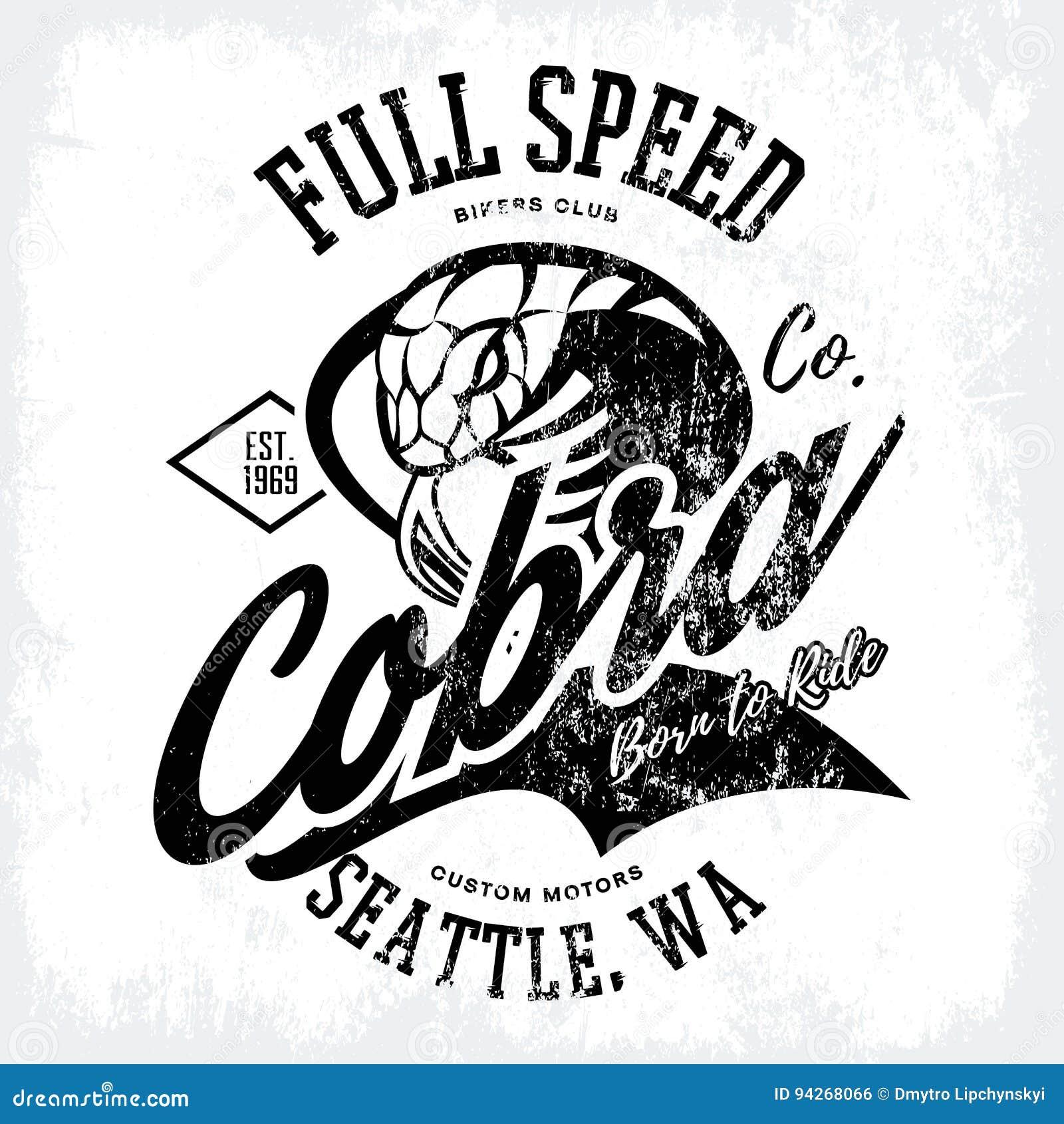 Vintage American Furious Cobra Bikers Club Tee Print Vector Design