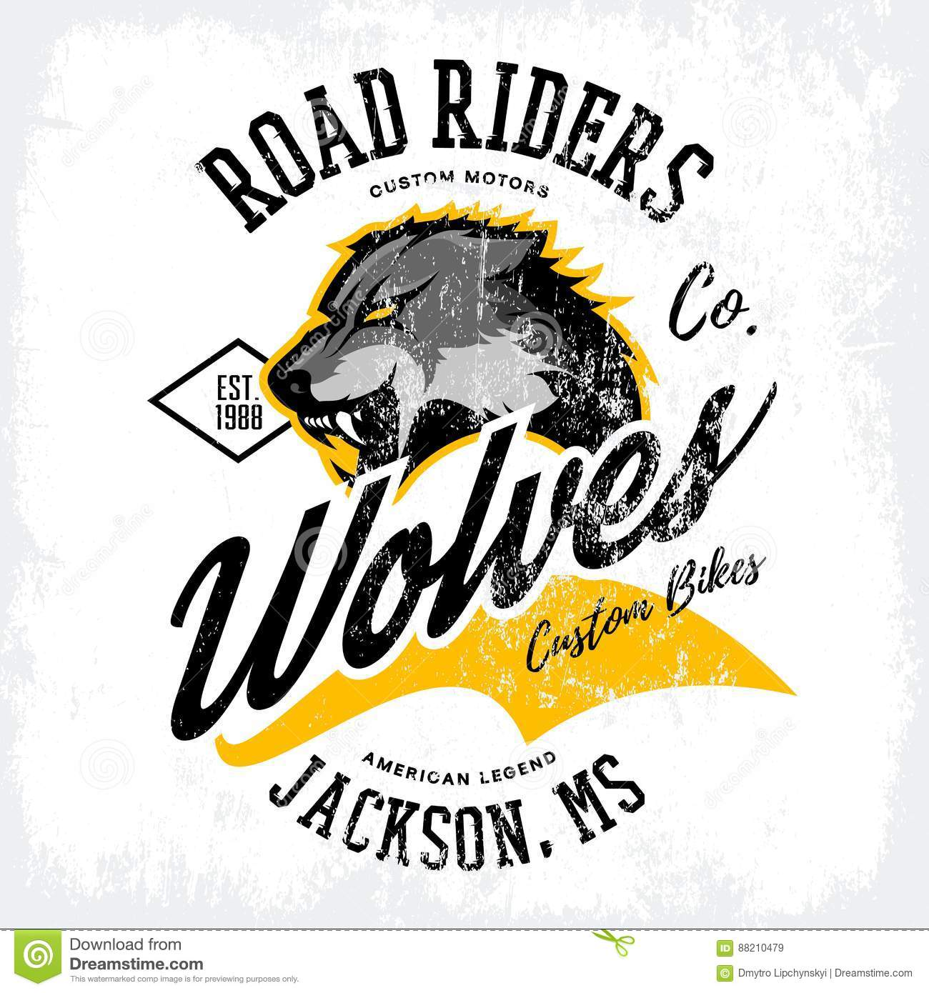 T shirt design jackson ms - Vintage American Furious Wolf Bikers Club Tee Print Vector Design Isolated On White T Shirt