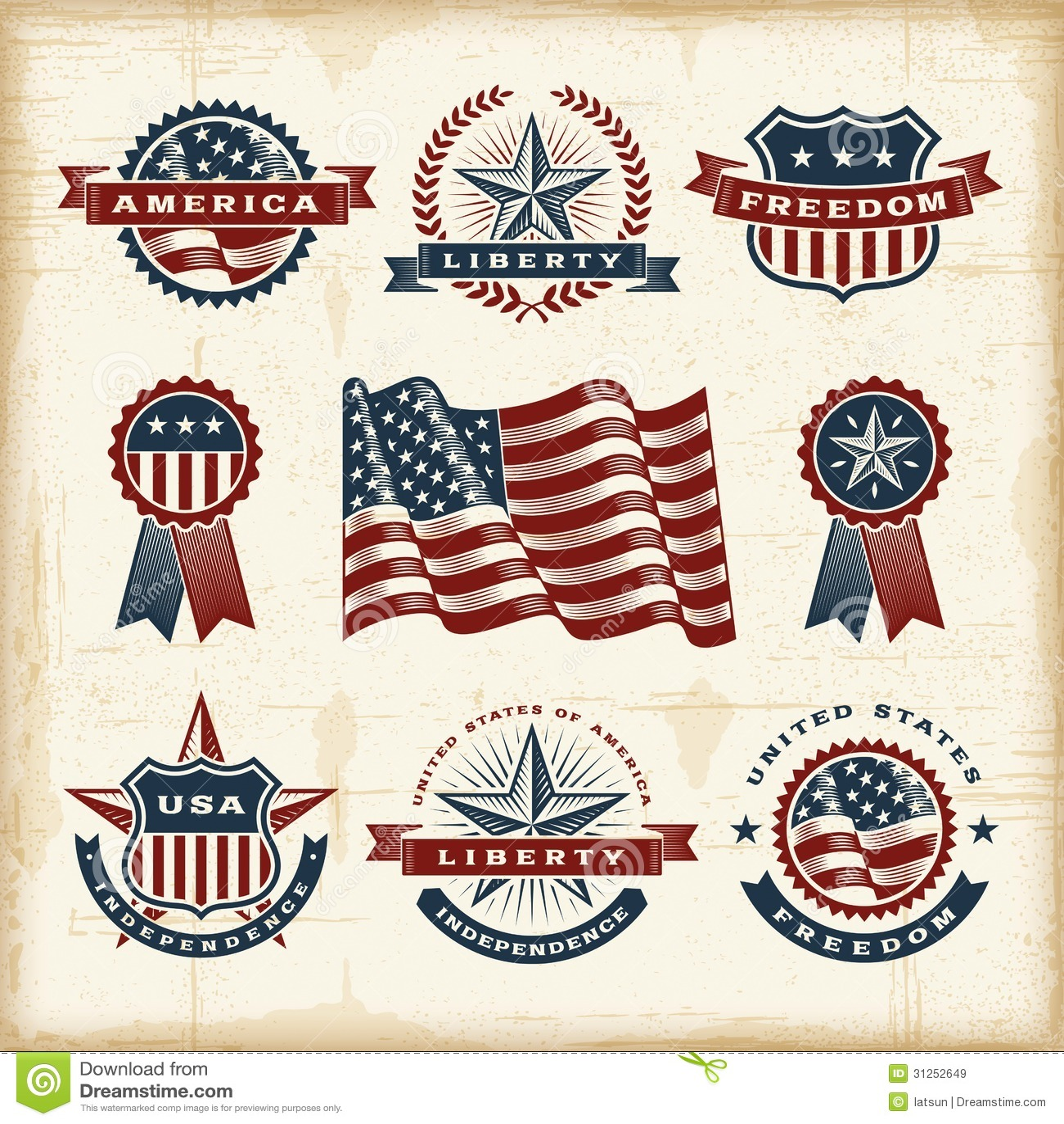 Vintage American Labels Set Royalty Free Stock Images