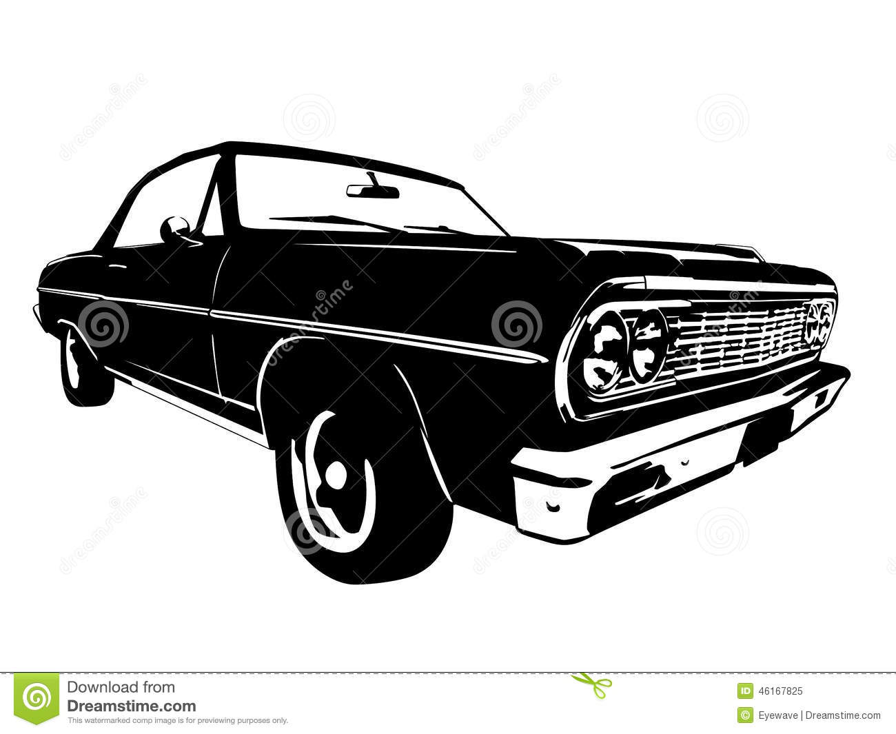 Vintage American Muscle Car Vector Silhouette Stock Vector