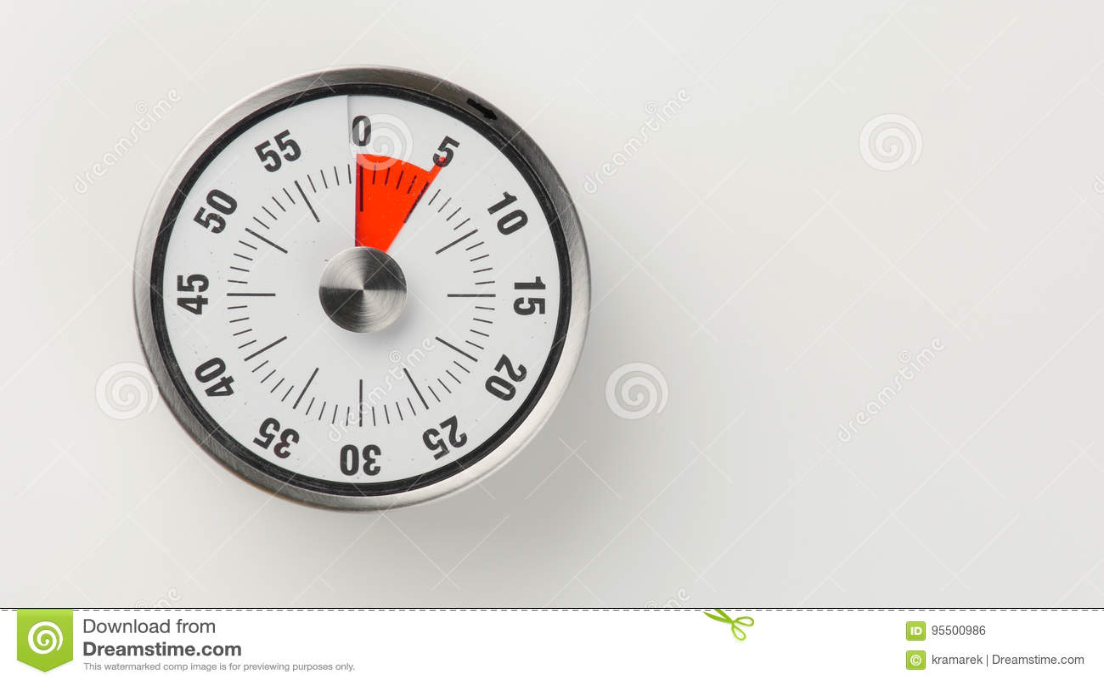 vintage analog kitchen countdown timer 5 minutes remaining stock