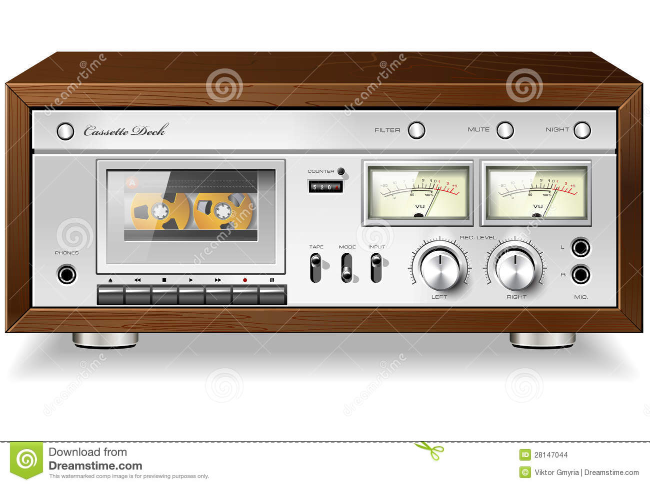 8bcaa0ce09de Vintage Analog Stereo Cassette Tape Deck Player Stock Vector ...