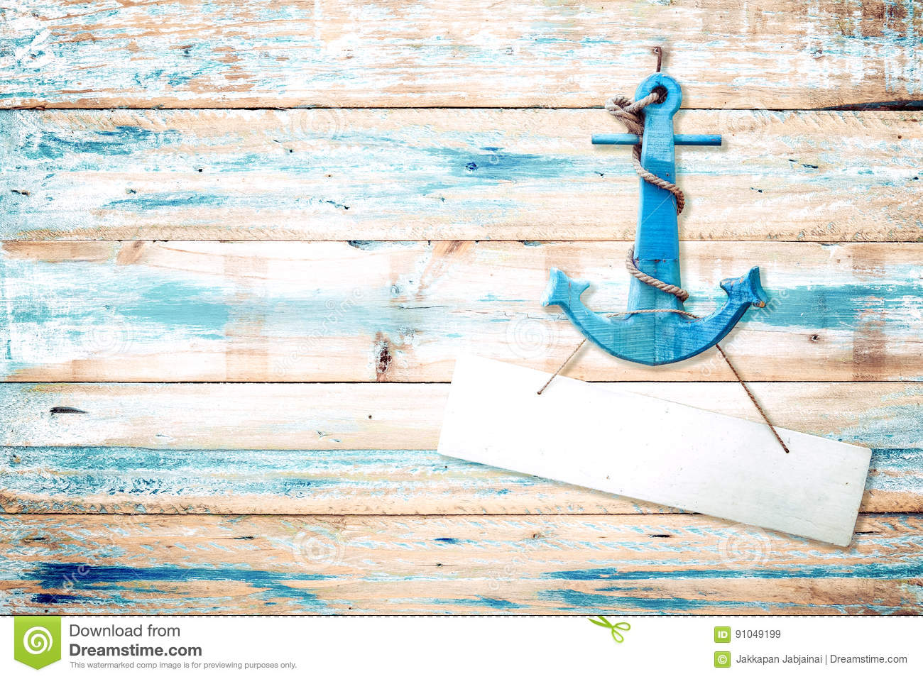 Download Vintage Anchor On Old Wooden Background With Blue Paint Stock Image - Image of boat, backdrop: 91049199