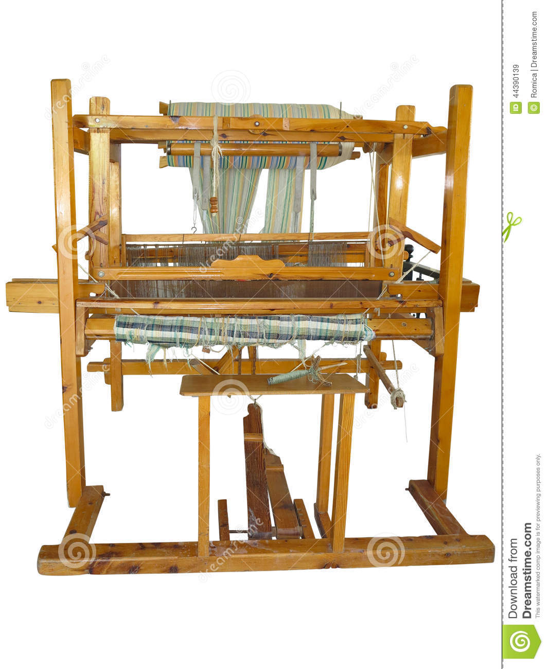 Ancient Loom For Fabric Manufacturing Stock Photo