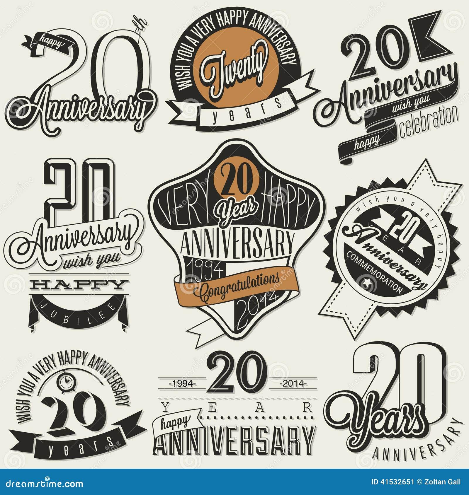 Vintage 20 anniversary collection stock vector image for Vintage stuhle gunstig