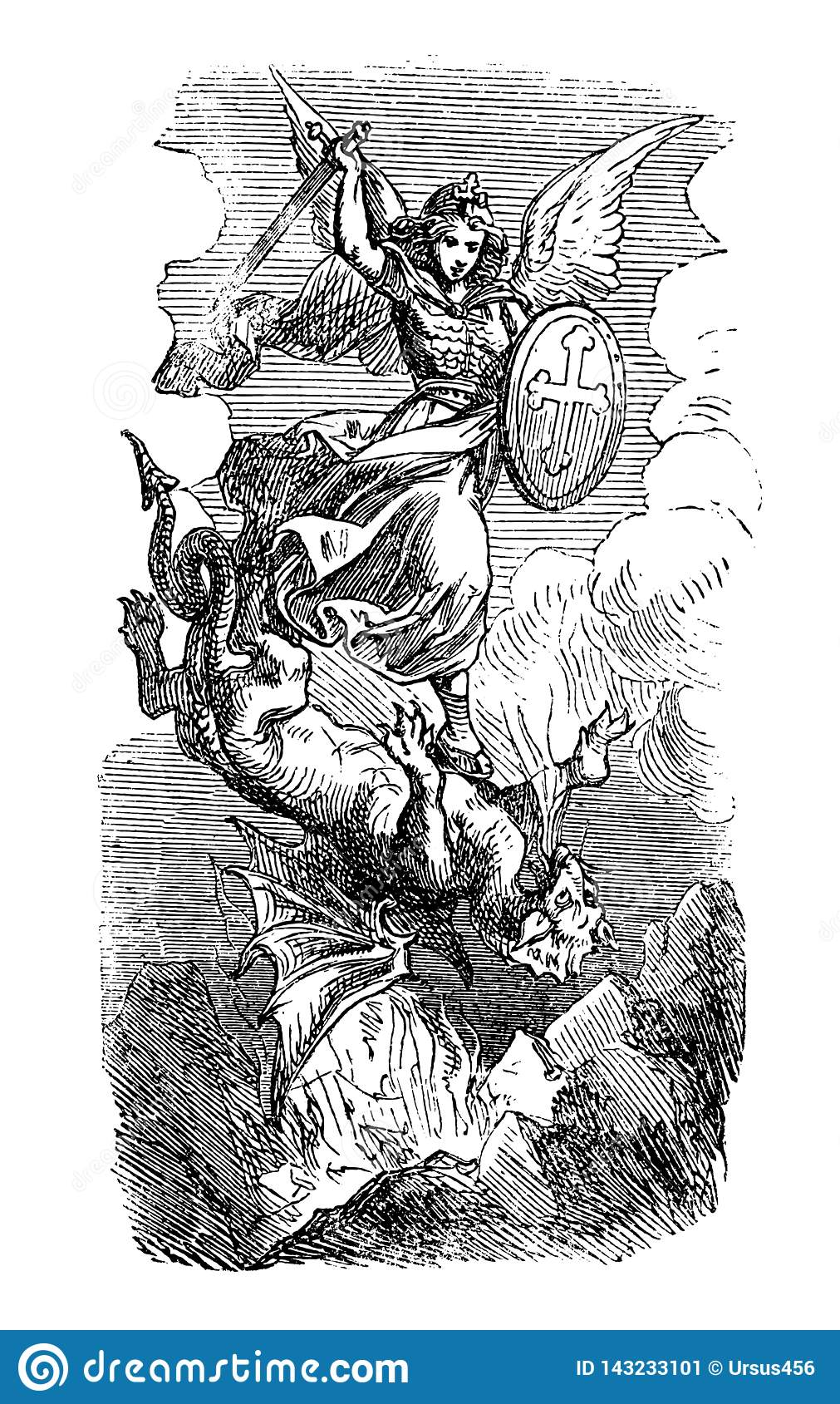 Vintage Drawing Of Biblical Archangel Michael Fighting With