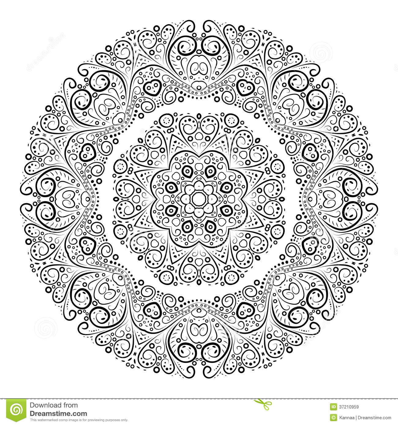 Black Flower Round Up: Vintage Antique Ornament Background. Vector Stock Vector