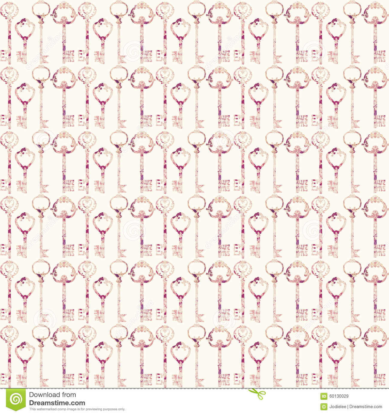 Vintage Antique pink key Seamless repeat pattern