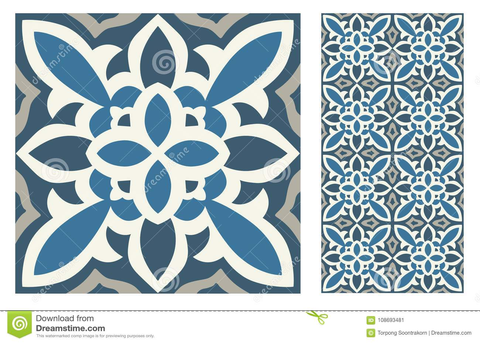 Vintage Antique Seamless Design Patterns Tiles In Vector ...