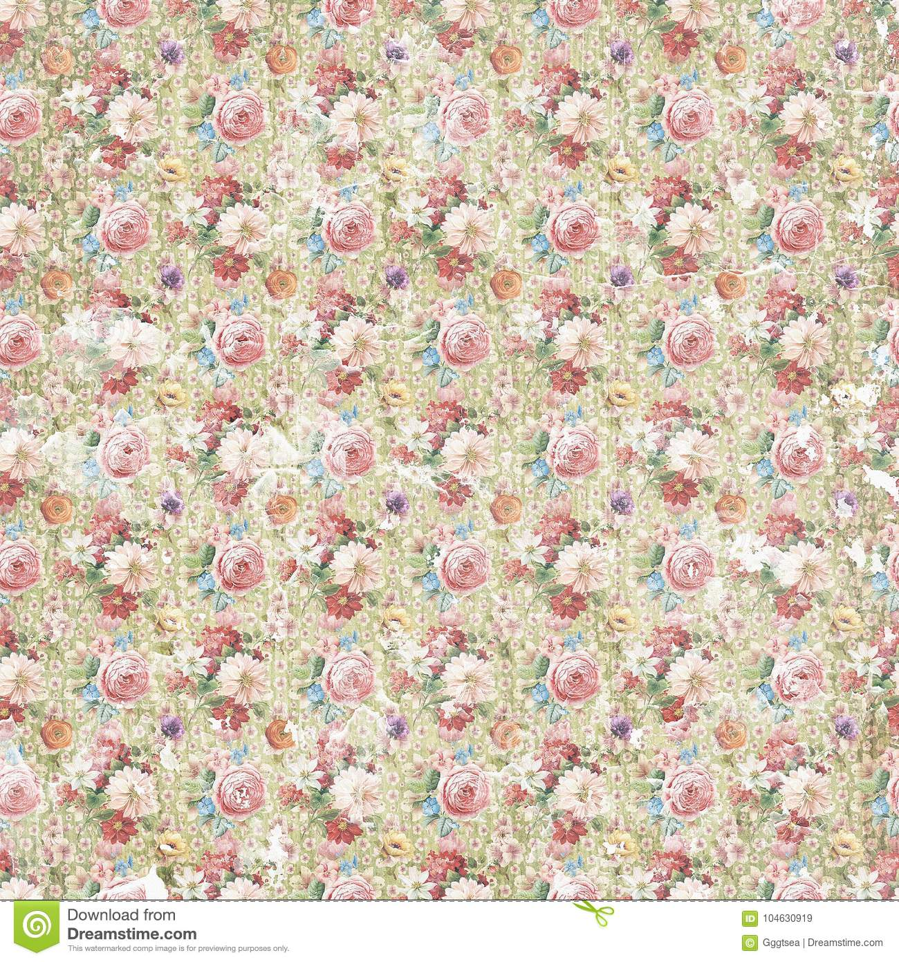 Vintage antique shabby flower paper background, seamless repeat pattern texture
