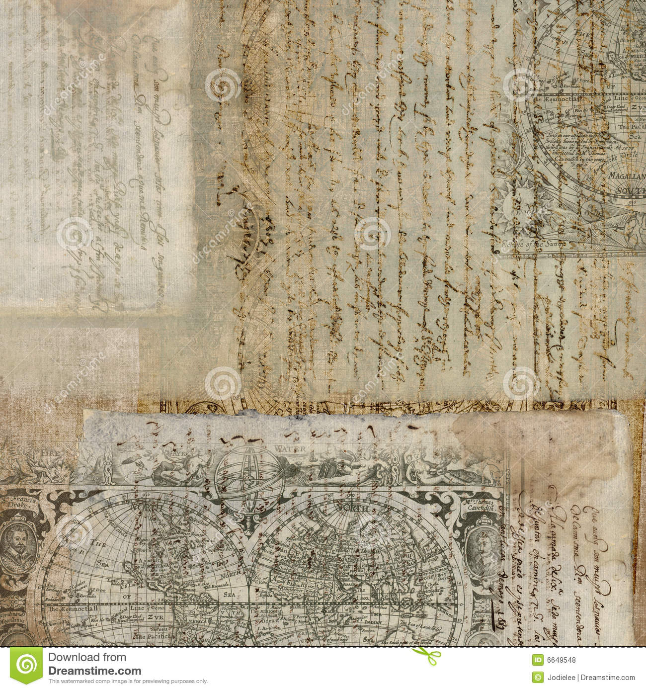 Antique Paper: Vintage Antique Text Paper Background Royalty Free Stock