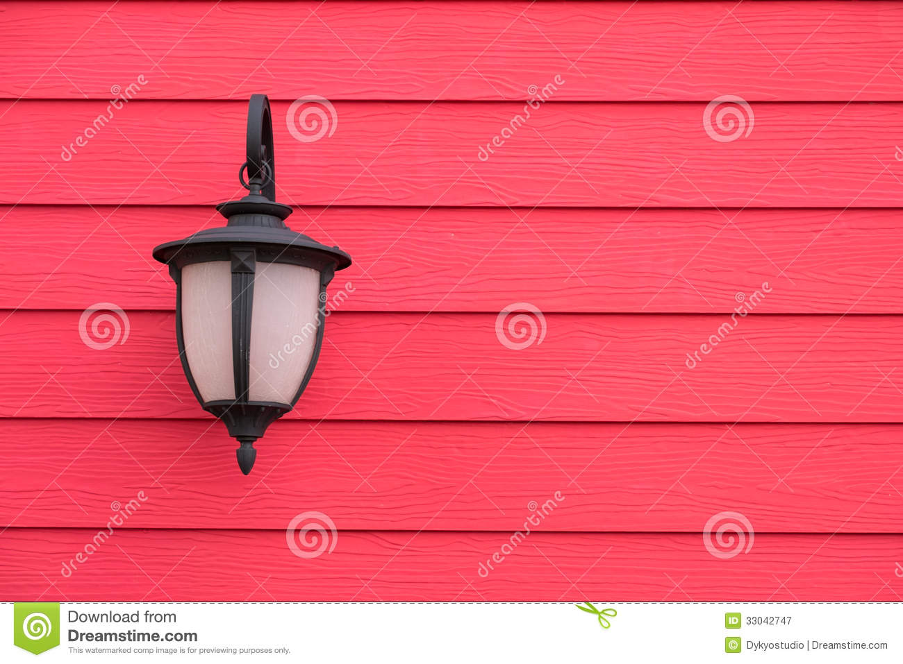 Vintage Antique Wall Lamp On Red Wood Wall, For Background With Royalty Free Stock Photography ...
