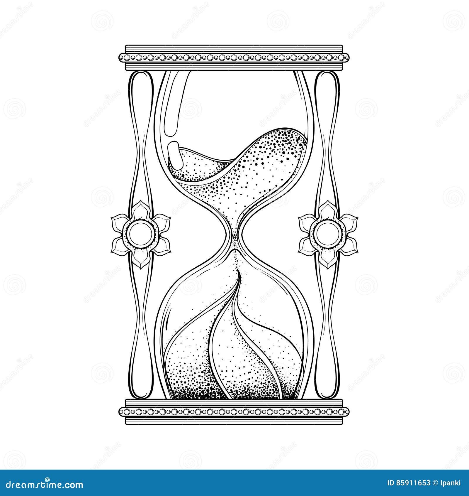 Vintage Antique Wizard Hourglass In Dotwork Tattoo Design