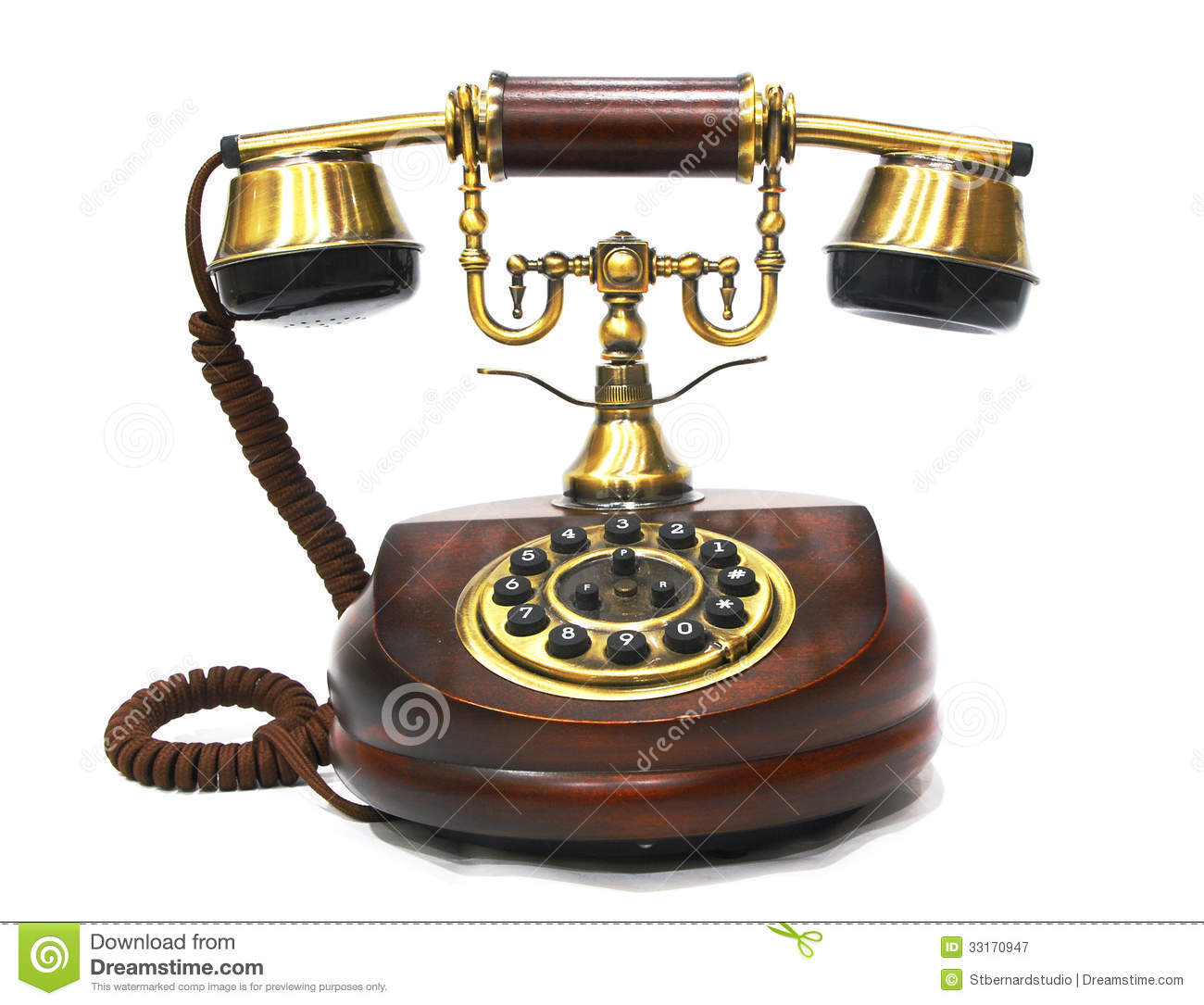 Vintage Antique Wooden And Brass Phone Stock Image - Image ...