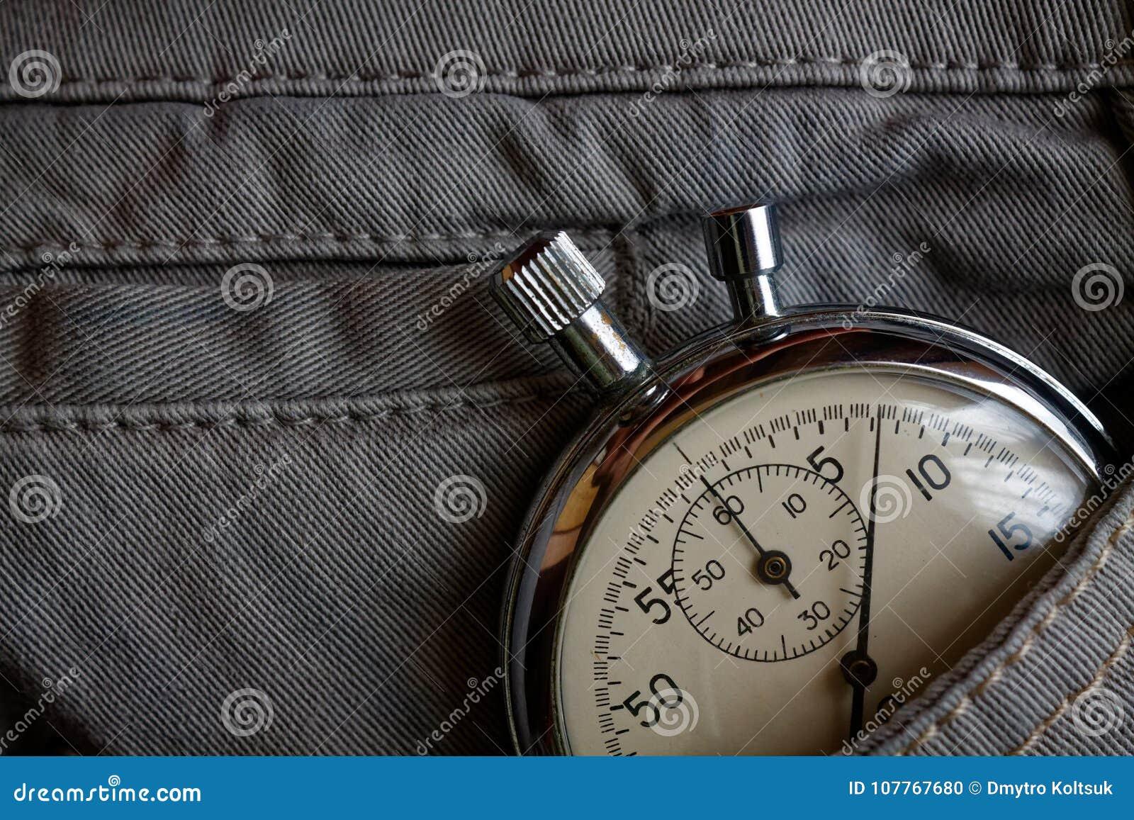 Vintage Antiques Stopwatch, In Gray Denim Pocket, Value