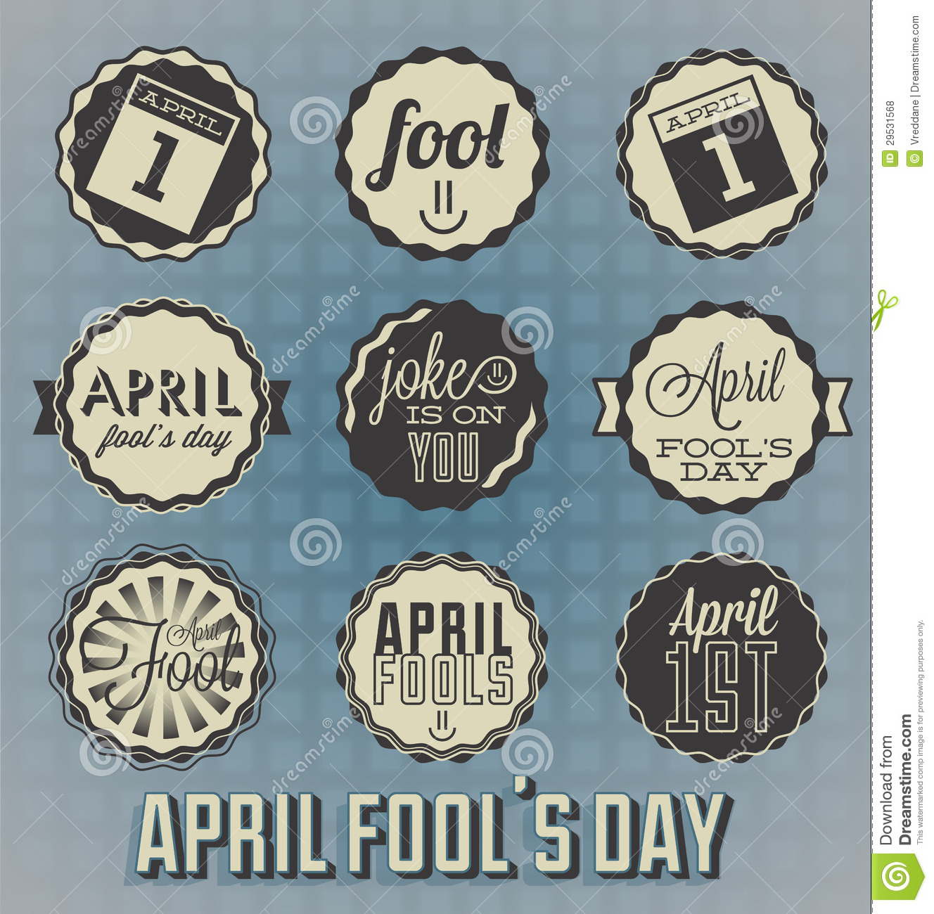 Vintage April Fools Day Labels Royalty Free Stock Photos - Image ...