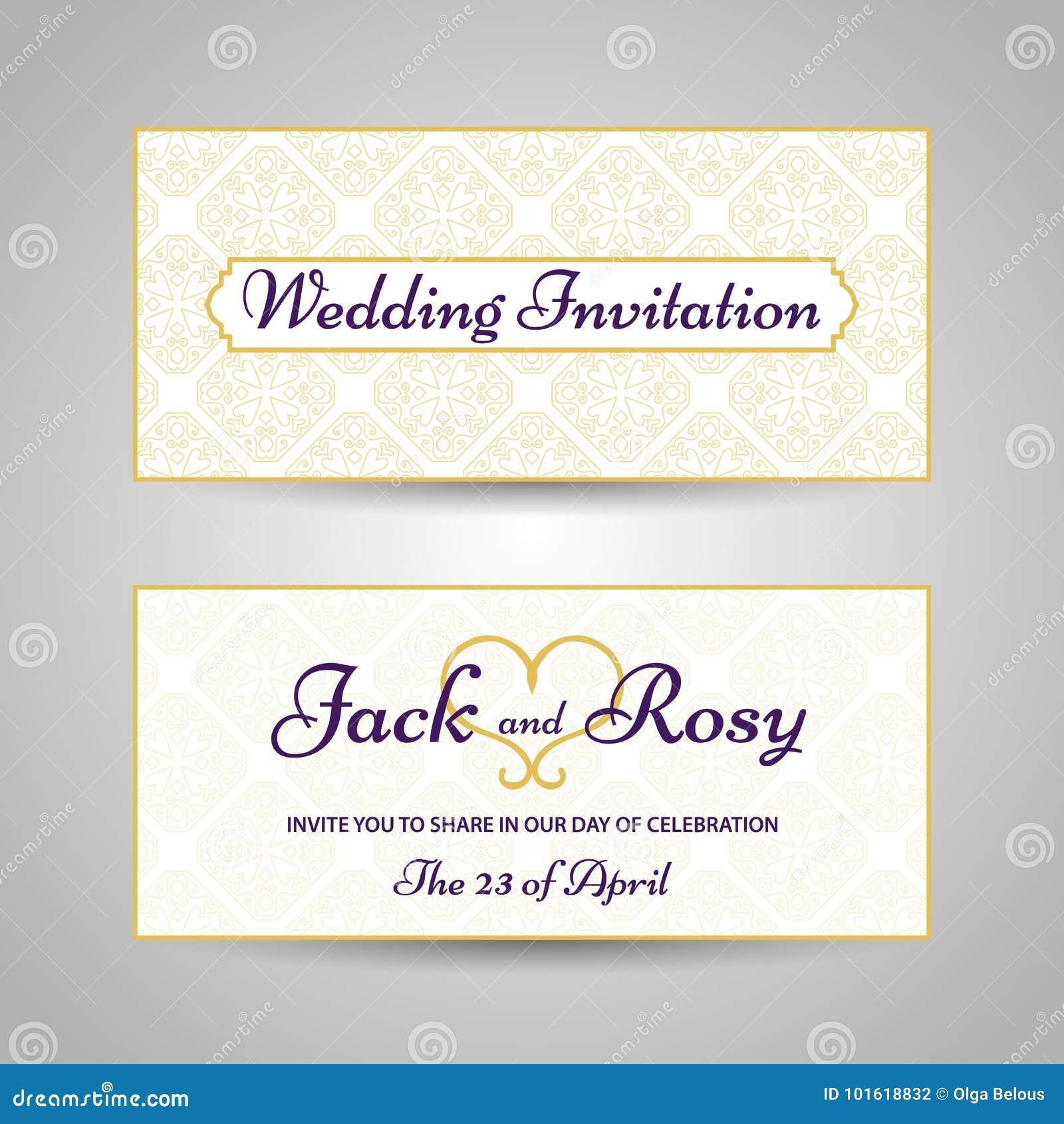 Vintage Arabic Style Pattern Wedding Invitation Stock Vector