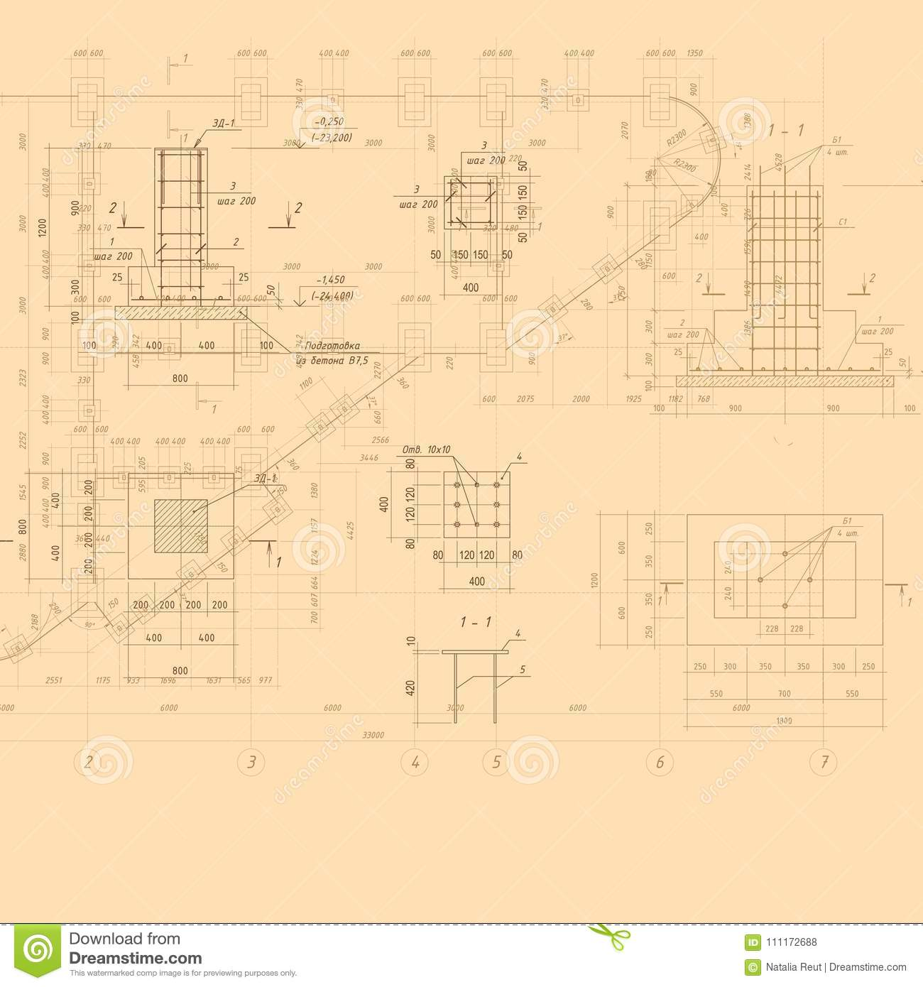 Vintage architectural blueprint vector background stock vector download vintage architectural blueprint vector background stock vector illustration of city contractor malvernweather Image collections