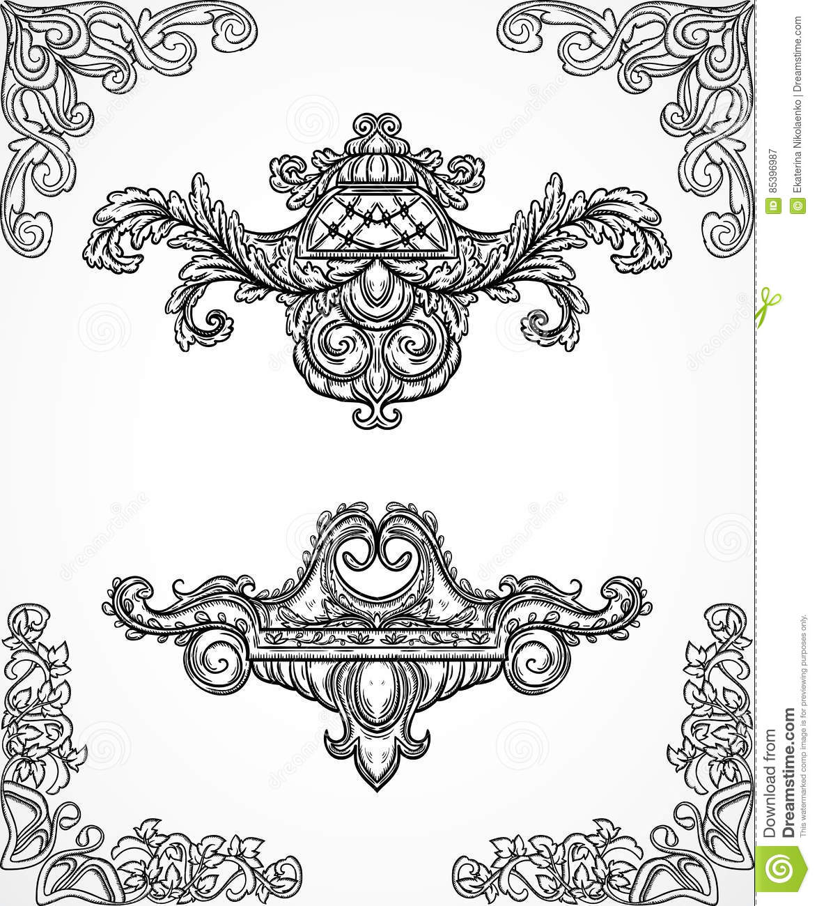 Vintage baroque scroll leaf set in engraving style cartoon for Architectural design elements