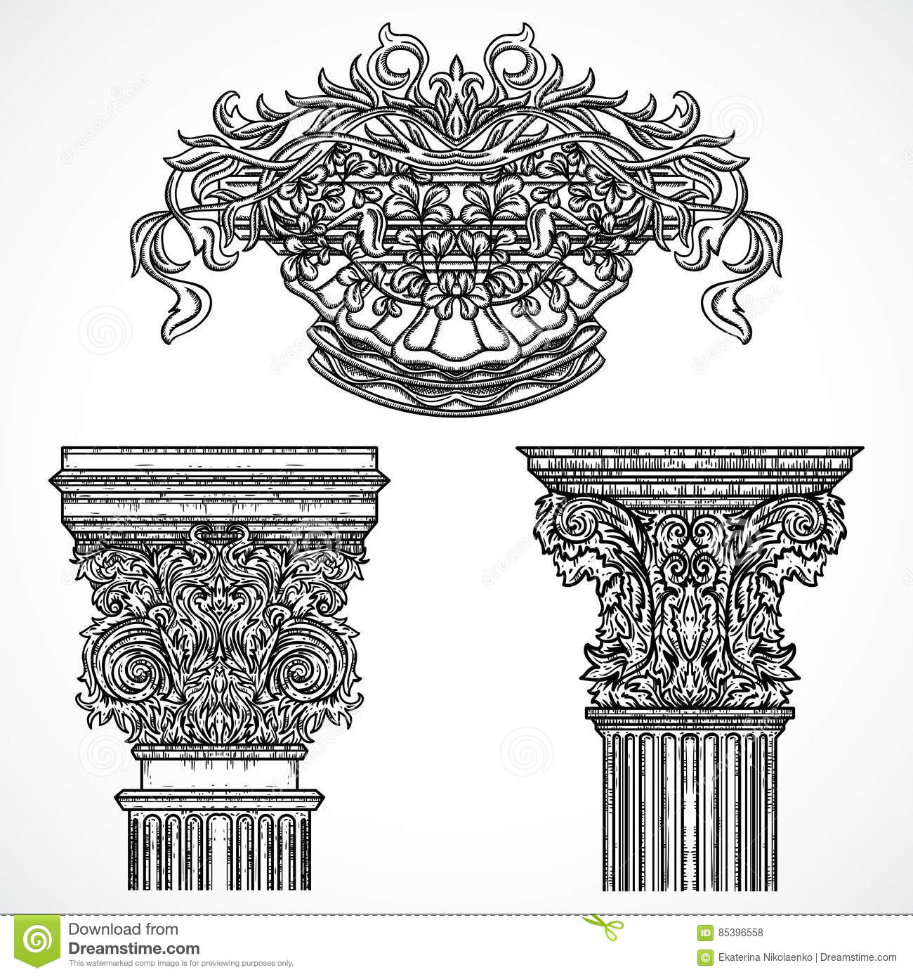 Antique and baroque classic style column vector set for Baroque architecture elements